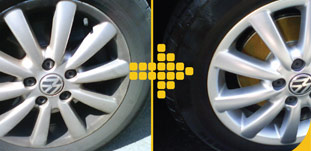 Before and after our wheel re-conditioning service